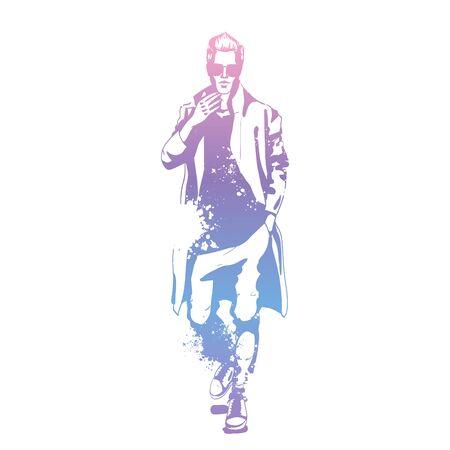 Vector man model dressed in pants, t-shirt and long coat, splash stile  イラスト・ベクター素材