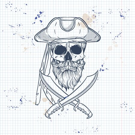 Sketch, pirate skull with sword, beard and mustaches and pirate hat. Poster, flyer design on a notebook page Ilustração