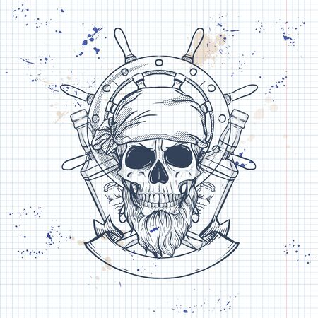 Sketch, pirate skull with bottle of rum, beard and ships steering wheel. Poster, flyer design on a notebook page Ilustração