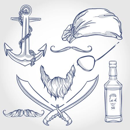 Hand drawn sketch, skull with pirate attributes Stock Illustratie