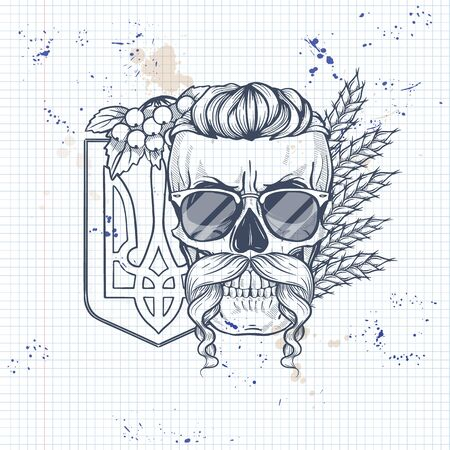 Notebook page sketch design, skull with Ukrainian emblem, mustaches, branches of viburnum, spikes of wheat, sunglasses Illustration