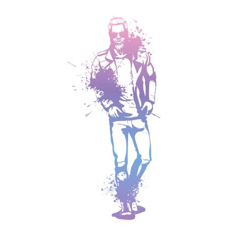 Vector man model dressed in jeans, lather jacket, shoes and T-shirt, splash stile  イラスト・ベクター素材