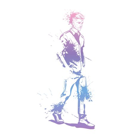 Vector man model dressed in jeans shirt and sneakers splash stile  イラスト・ベクター素材