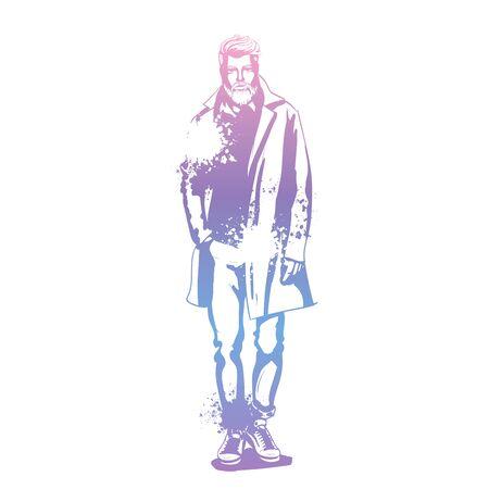 Vector man model dressed in pants, shirt, jeanse jacket, sneakers, and long coat, splash stile
