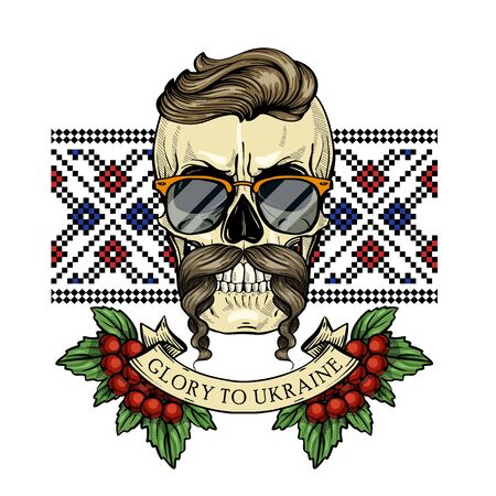 Hand drawn color sketch, skull with Ukrainian embroidery pattern, mustaches, branches of viburnum, sunglasses. Poster, flyer design