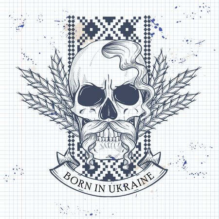 Notebook page sketch design, skull with Ukrainian national embroidery pattern, mustaches, spikes of wheat Illustration