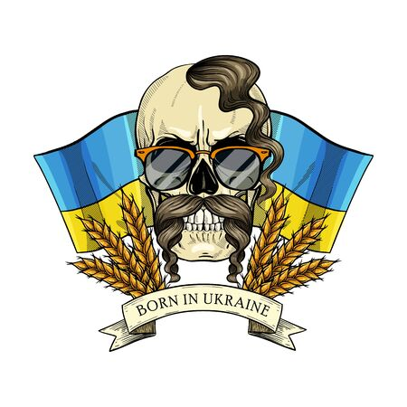 Hand drawn color sketch, skull with Ukrainian flag, mustaches, spikes of wheat, oseledets hairstyle, sunglasses. Poster, flyer design