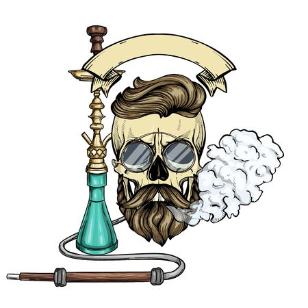 Color hipster skull with beard and mustaches, hookah, rimless eyeglasses and clouds of smoke