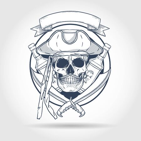 Boceto dibujado a mano, calavera pirata con espada, bigotes, sombrero pirata y una botella de ron. Póster, diseño de flyer Ilustración de vector