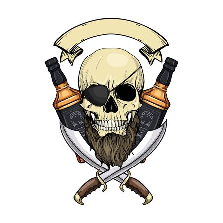 Hand drawn color sketch, pirate skull with sword, beard, eye patch and a bottle of rum. Poster, flyer design