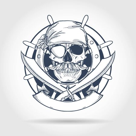 Hand drawn sketch, pirate skull with sword, mustaches, pirate head scarf, eye patch and ship's steering wheel. Poster, flyer design