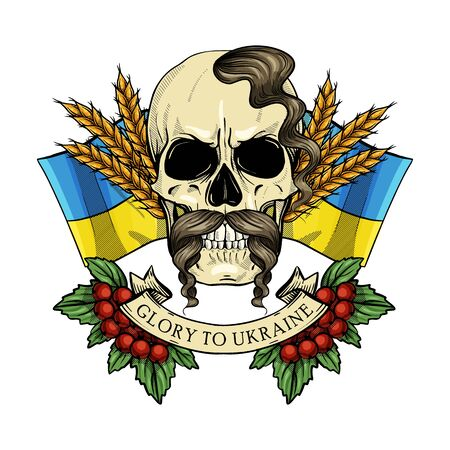 Hand drawn color sketch, skull with Ukrainian national flag, mustaches, spikes of wheat, branches of viburnum, oseledets hairstyle. Poster, flyer design Illustration