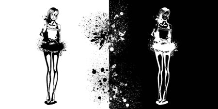 Sketch of Trendy look girls with splashes