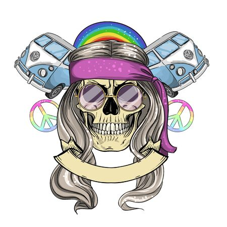 Hand drawn color sketch, hippie skull with hair, sunglasses and hippie bus. Poster, flyer design