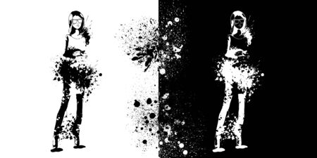 Sketch of Fashion look girls with splashes