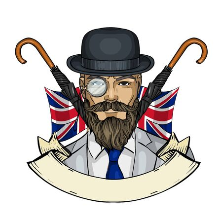 Hand drawn color sketch, british man with beard and mustaches and umbrella and hat. Poster, flyer design