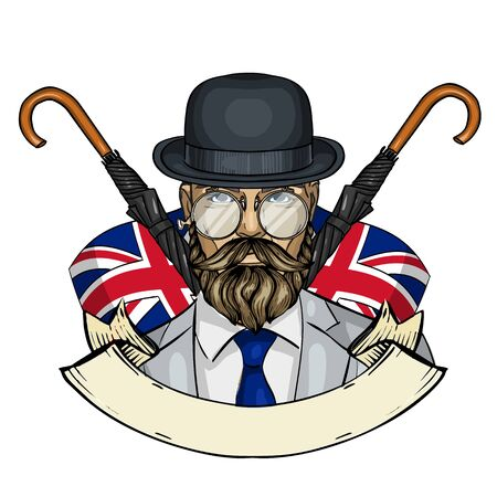 Hand drawn color sketch, british man with beard and mustaches, hat and umbrella. Poster, flyer design