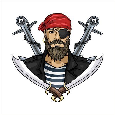 Croquis de couleur dessiné à la main, visage de pirate avec moustaches et barbe et ancre. Affiche, conception de flyer