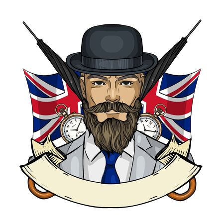 Hand drawn color sketch, british man with beard, mustaches, hat and umbrella. Poster, flyer design Ilustrace