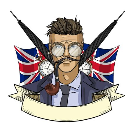 Hand drawn color sketch, british man with glasses and smoking pipe. Poster, flyer design