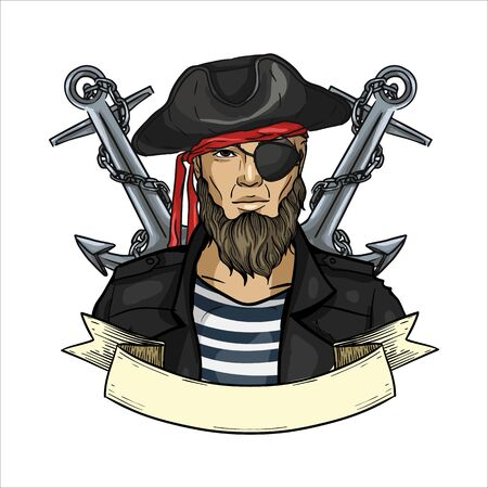 Hand drawn color sketch, pirate face with beard and anchor. Poster, flyer design