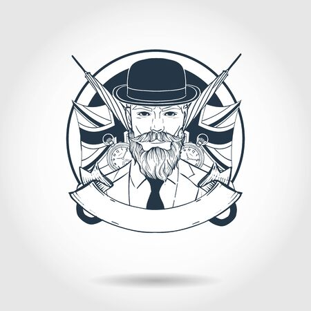 Hand drawn sketch, british man with beard, mustaches, hat and umbrella. Poster, flyer design