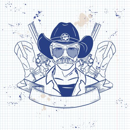 Hand drawn sketch, cowboy with glasses. Poster, flyer design on a notebook page