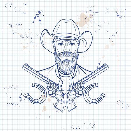 Hand drawn sketch cowboy Standard-Bild - 132098787