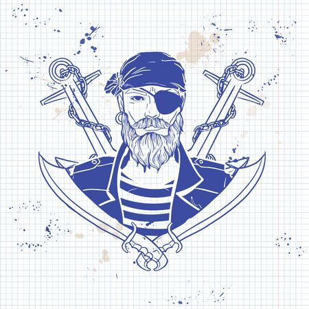 Hand drawn color sketch, pirate face with mustaches and beard and anchor. Poster, flyer design on a notebook page