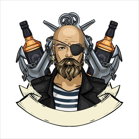 Hand drawn color sketch, pirate face with beard, anchor and bottle of rum. Poster, flyer design Stock Illustratie