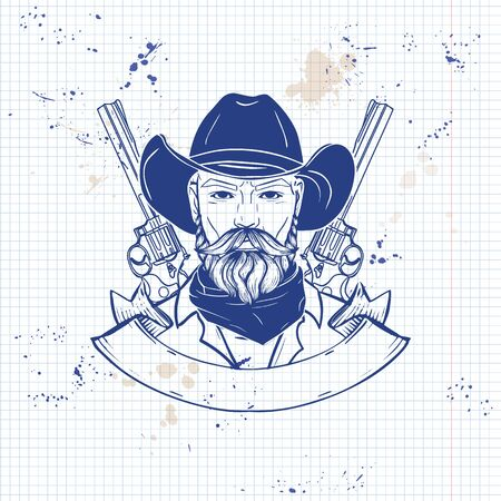 Hand drawn sketch cowboy
