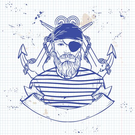 Hand drawn color sketch, pirate face with beard, and anchor. Poster, flyer design on a notebook page