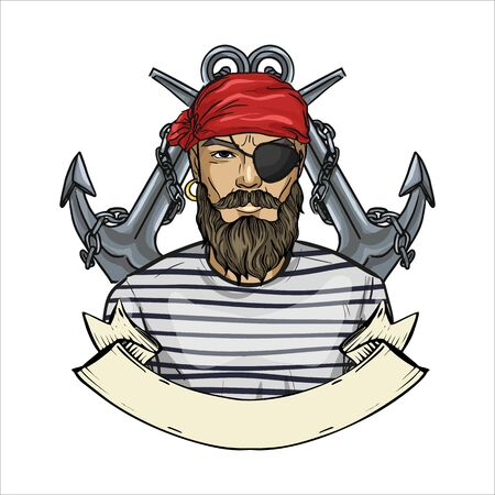 Hand drawn color sketch, pirate face with beard, and anchor. Poster, flyer design