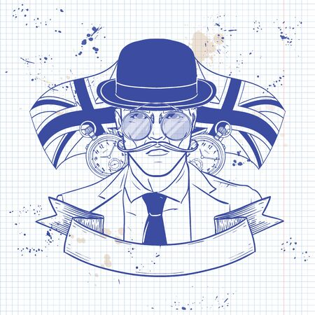 Hand drawn sketch, british man with beard and mustaches and hat. Poster, flyer design on a notebook page