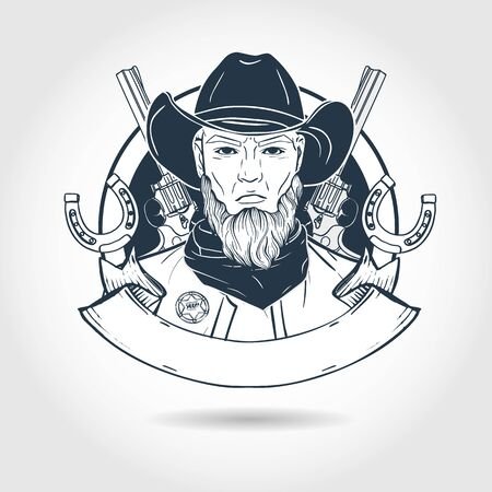 Hand drawn sketch cowboy Standard-Bild - 132098798