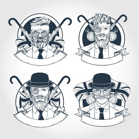 Hand drawn sketch, set of british man stickers, posters Ilustrace