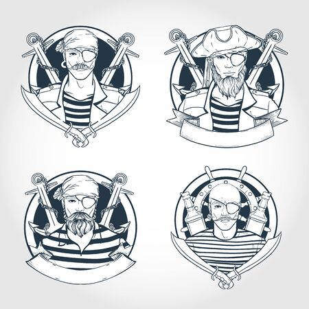 Hand drawn sketch, set of pirate stickers, flyers Stock Illustratie