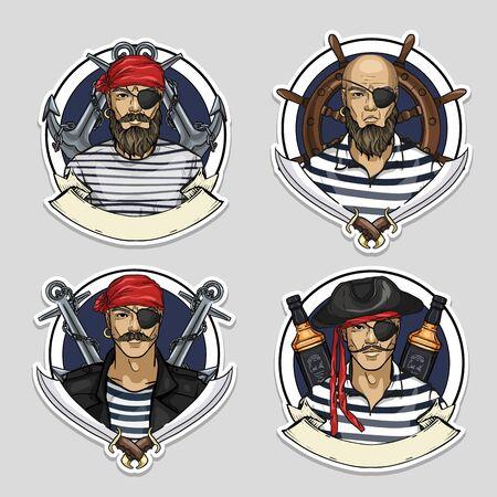 Sketch set of pirate Archivio Fotografico - 132099575