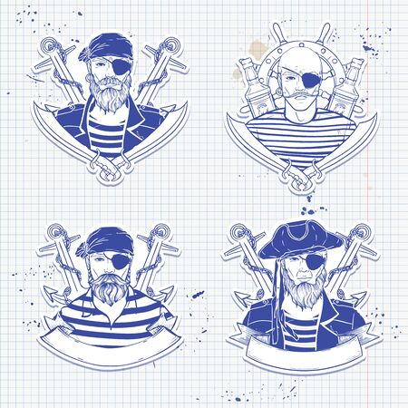 Sketch set of pirate