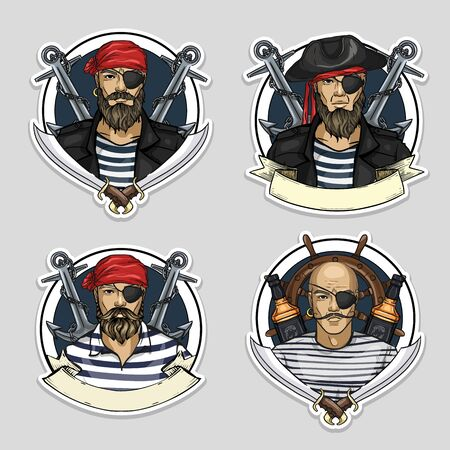 Hand drawn color sketch, set of pirate stickers, posters Ilustrace