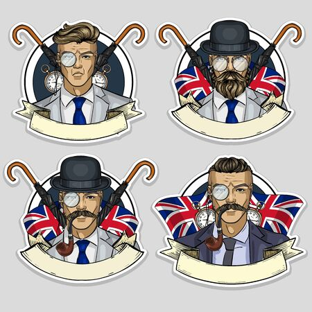 Hand drawn color sketch, set of british man stickers, flyers