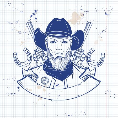 Hand drawn sketch, cowboy with beard and guns