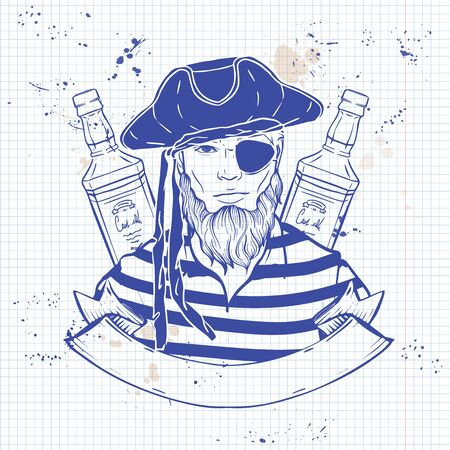 Hand drawn color sketch, pirate face with beard, hat and bottle of rum. Poster, flyer design on a notebook page