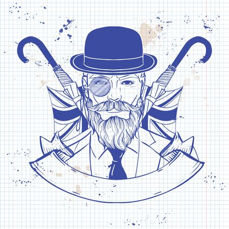 Hand drawn sketch, british man with beard and mustaches and umbrella and hat. Poster, flyer design on a notebook page