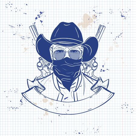 Hand drawn sketch, cowboy with scarf and hat. Poster, flyer design on a notebook page
