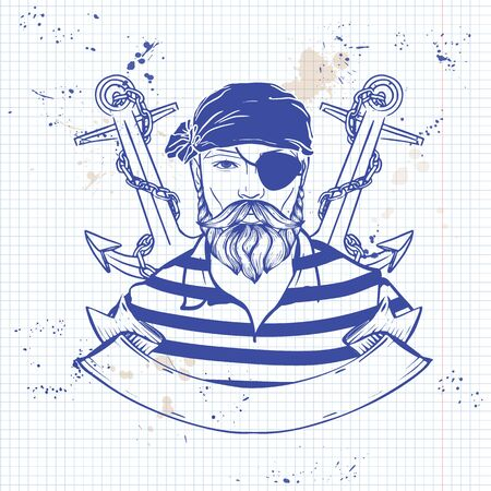 Hand drawn color sketch, pirate face with beard and mustaches and anchor. Poster, flyer design on a notebook page