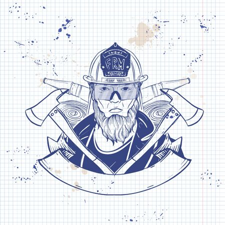 Hand drawn sketch fireman icon
