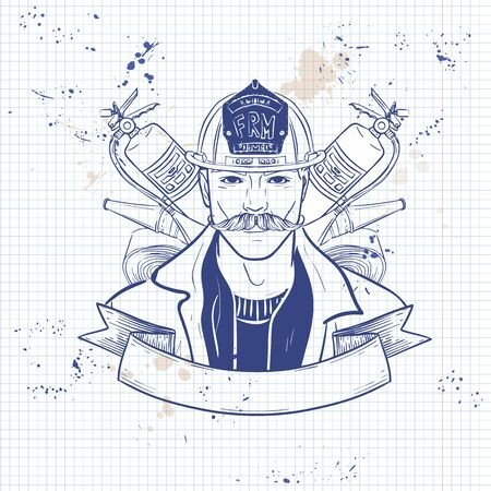 Hand drawn sketch, fireman with mustaches and helmet. Poster, flyer design on a notebook page Illustration