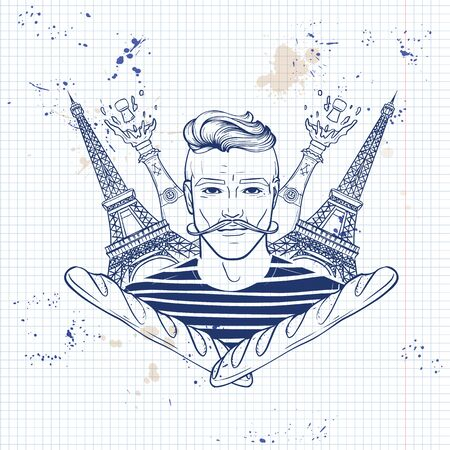 Hand drawn sketch, french man with mustaches and hairstyle. Poster, flyer design on a notebook page