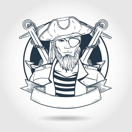 Boceto dibujado a mano, cara de pirata con barba y ancla. Póster, diseño de flyer Ilustración de vector